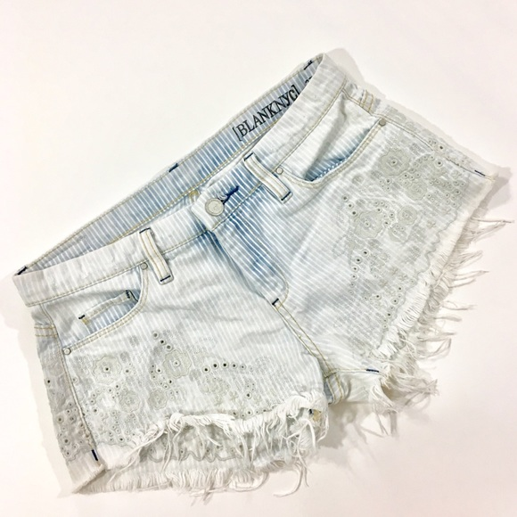 Blank NYC Pants - Blank NYC White Washed Embroidered Cut Off Shorts